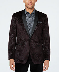 Tallia Men's Slim-Fit Burgundy Floral Velvet Dinner Jacket