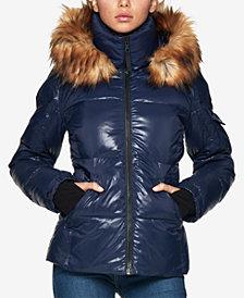 S13 Kylie Faux-Fur-Trim Hooded Puffer Coat