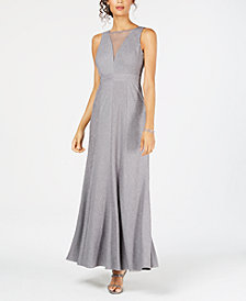 Nightway Ribbed Metallic-Knit Illusion Gown