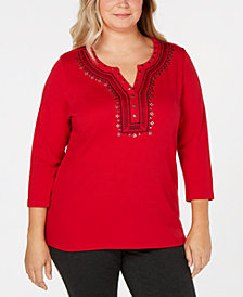 Karen Scott Plus Size Embellished Split-Neck Top, Created for Macy's