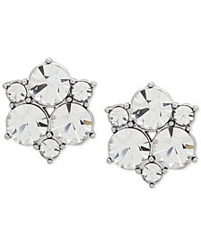 Givenchy Silver-Tone Crystal Cluster Stud Earrings