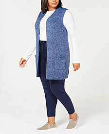 Karen Scott Plus Size Marled Duster Sweater Vest, Created for Macy's