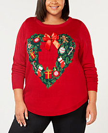 Karen Scott Plus Size Holiday Wreath Sweater, Created for Macy's
