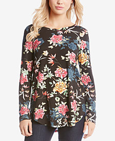 Karen Kane Printed Long-Sleeve T-Shirt