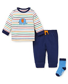 Little Me Baby Boy Elephant Jogger Set with Socks