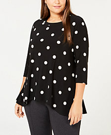 Anne Klein Plus Size Printed Handkerchief-Hem Top