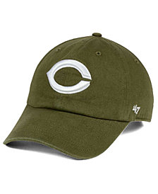 '47 Brand Cincinnati Reds Olive White CLEAN UP Strapback Cap