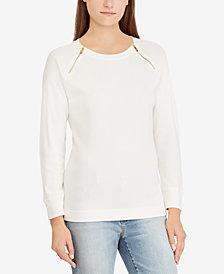 Lauren Ralph Lauren Zip Cotton Long Sleeve Top