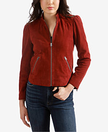 Lucky Brand Suede Puff-Sleeve Jacket