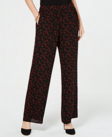 MICHAEL Michael Kors Printed Wide-Leg Pants, In Regular & Petite Sizes