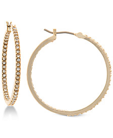 Lauren Ralph Lauren Gold-Tone Pavé Crystal In & Out Hoop Earrings