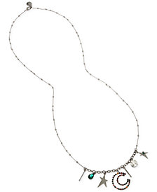 "BCBG Hematite-Tone Crystal Multi-Charm 31"" Statement Necklace"