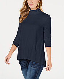Style & Co Mock-Neck High-Low Top, Created for Macy's