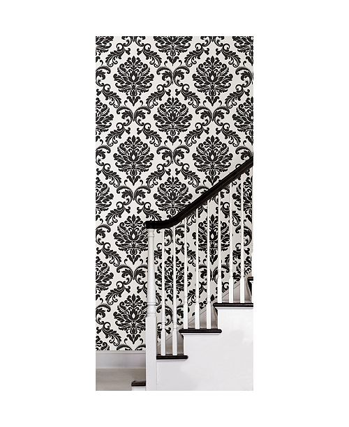 Brewster Home Fashions Ariel Black And White Damask Peel And Stick Wallpaper Reviews Wallpaper Home Decor Macy S