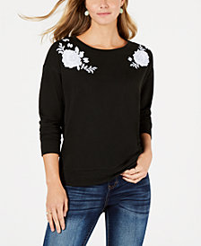 Style & Co Petite Floral-Embroidered Sweater, Created for Macy's