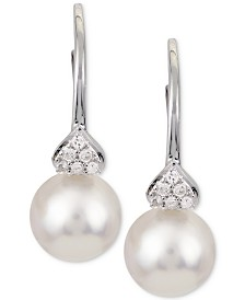 Cultured Akoya Pearl (7mm) and Diamond Accent Drop Earrings in 14k White Gold