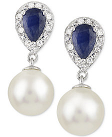 Cultured Freshwater Pearl (8mm), Sapphire (1 ct. t.w.) and Diamond Accent Drop Earrings in 14k White Gold