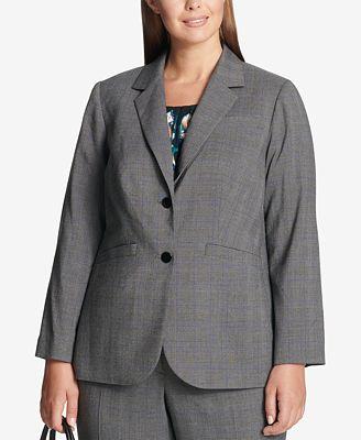 Calvin Klein Plus Size Glen Plaid Two Button Jacket Jackets
