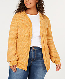 Planet Gold Trendy Plus Size Hooded Chenille Cardigan