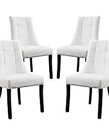 Modway Noblesse Vinyl Dining Chair Set of 4