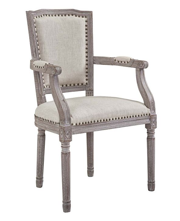 Modway Penchant Vintage French Upholstered Fabric Dining Armchair