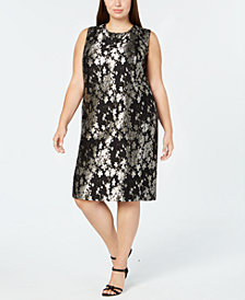 Calvin Klein Plus Size Floral-Print Sleeveless Dress