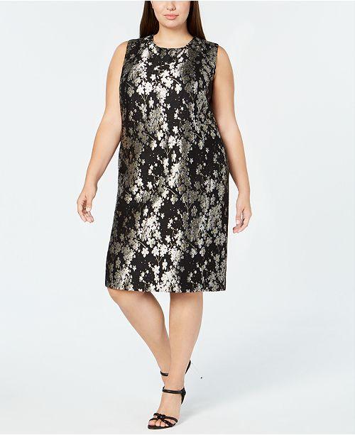 Calvin Klein Plus Size Floral Print Sleeveless Dress Dresses