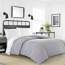 Nautica Coleridge Stripe Charcoal Duvet Bonus Set Collection