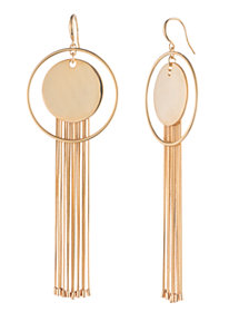 Trina Turk Disc & Fringe Hoop Earrings