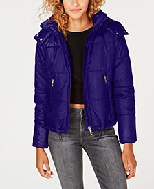 Maralyn & Me Juniors' Cropped Hooded Puffer Coat