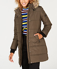 Maralyn & Me Juniors' Faux-Fur-Trim Hooded Puffer Coat