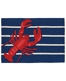 "Liora Manne Front Porch Indoor/Outdoor Lobster on Stripes Navy 2'6"" x 4' Area Rug"