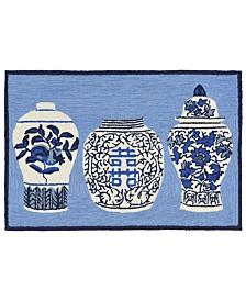 """Liora Manne Front Porch Indoor/Outdoor Ginger Jars Blue 2'6"""" x 4' Area Rug"""