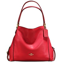COACH Edie 31 in Polished Pebble Leather Shoulder Bag (Jasper/Gold)
