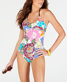 Trina Turk Radiant Blooms Tankini Top & Radiant Blooms Shirred Side Hipster Bottoms