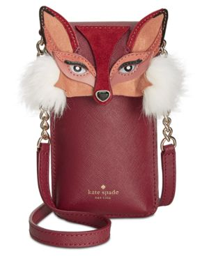 Fox Iphone Crossbody Bag - Brown, Red/Gold