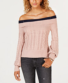 Say What? Juniors' Off-The-Shoulder Sweater