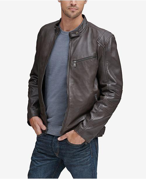 Andrew Marc Men's Weston Full-Zip Leather Moto Jacket, Created for Macy's