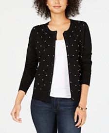 Charter Club Petite Pearl-Embellished Cardigan, Created for Macy's