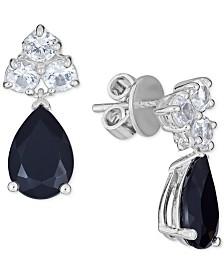 Sapphire (5 ct. t.w.) & White Sapphire (1-1/2 ct. t.w.) Drop Earrings in Sterling Silver