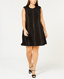 Calvin Klein Plus Size Studded A-Line Dress