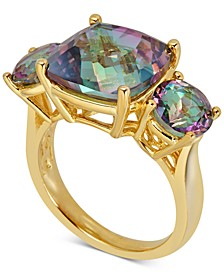 Mystic Quartz Three Stone Ring (7 ct. t.w.) in 14k Gold-Plated Sterling Silver