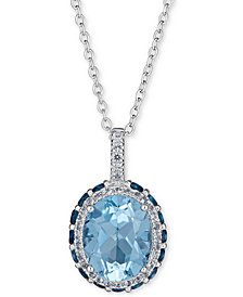 "Blue Topaz (2-1/3 ct.t.w) & White Topaz (1/6 ct. t.w.) Pendant Necklace, 16"" + 2"" extender in Sterling Silver"