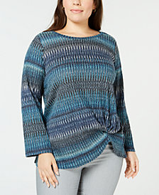 John Paul Richard Plus Size Printed Knot-Front Top