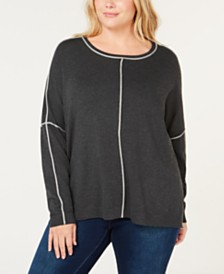 525 America Plus Size Contrast-Trim Sweater, Created for Macy's