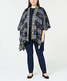 NY Collection Plus Size Printed Open-Front Poncho