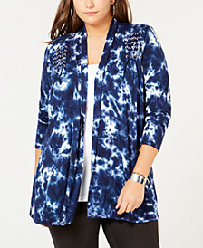 Belldini Plus Size Embellished Tie-Dye Open-Front Cardigan