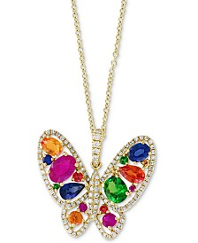 "EFFY® Multi-Gemstone (2-1/3 ct t.w.) & Diamond (1/3 ct. t.w.) Butterfly 18"" Pendant Necklace in 14k Gold"