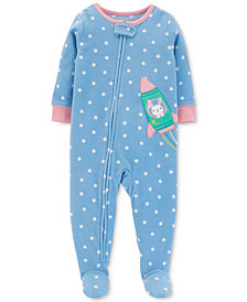 Carter's Baby Girls Dot-Print Spaceship Footed Pajamas