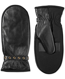 Isotoner Women's Leather Touchscreen Mittens with Plush Lining